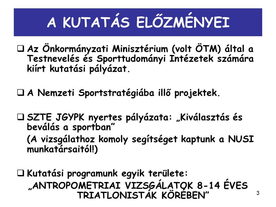 3 A KUTATÁS ELŐZMÉNYEI  Az Önkormányzati Minisztérium (volt ÖTM) által a Testnevelés és Sporttudományi Intézetek számára kiírt kutatási pályázat.  A