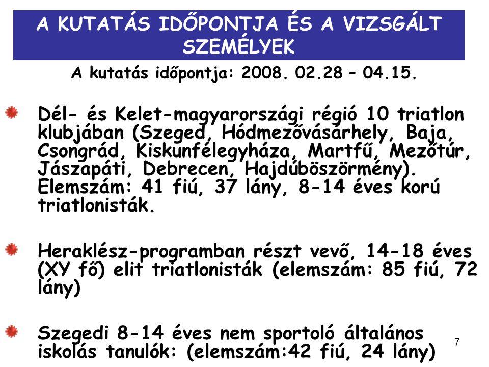 7 A KUTATÁS IDŐPONTJA ÉS A VIZSGÁLT SZEMÉLYEK A kutatás időpontja: 2008. 02.28 – 04.15. Dél- és Kelet-magyarországi régió 10 triatlon klubjában (Szege