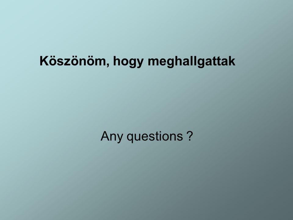 Köszönöm, hogy meghallgattak Any questions ?