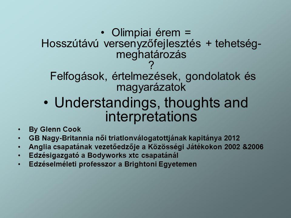 Olimpiai érem = Hosszútávú versenyzőfejlesztés + tehetség- meghatározás ? Felfogások, értelmezések, gondolatok és magyarázatok Understandings, thought