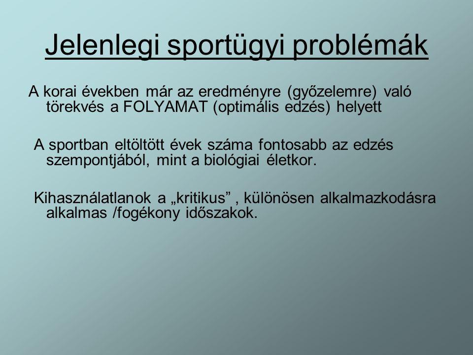Jelenlegi sportügyi problémák A korai években már az eredményre (győzelemre) való törekvés a FOLYAMAT (optimális edzés) helyett A sportban eltöltött é