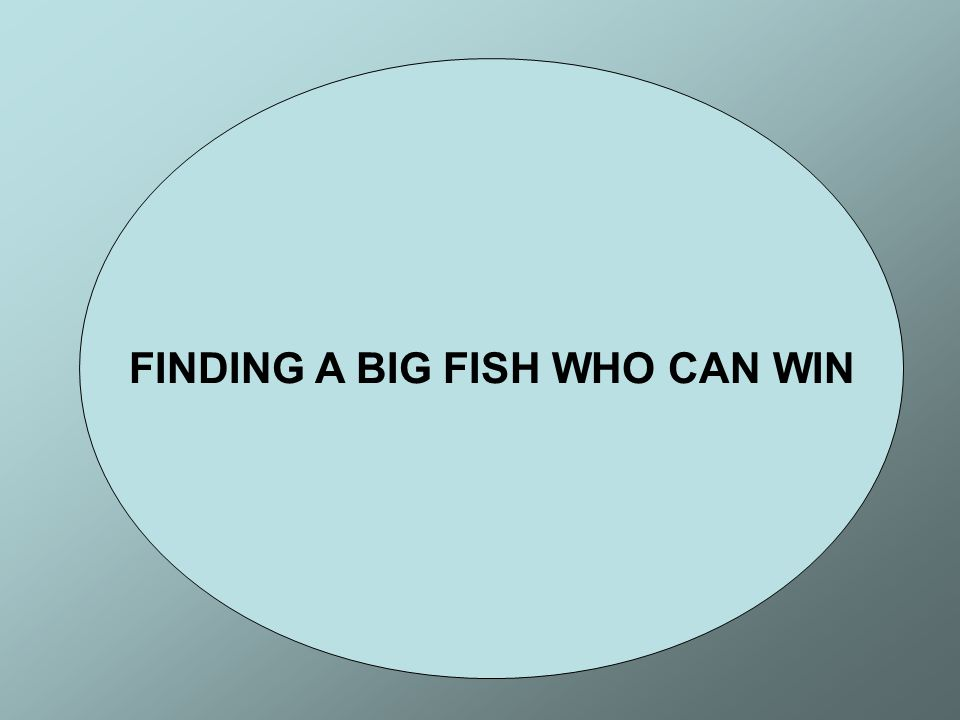 FINDING A BIG FISH WHO CAN WIN