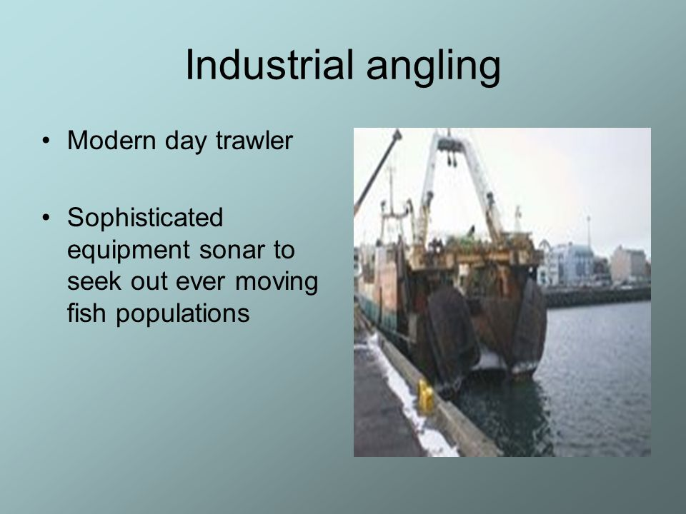 Industrial angling Modern day trawler Sophisticated equipment sonar to seek out ever moving fish populations