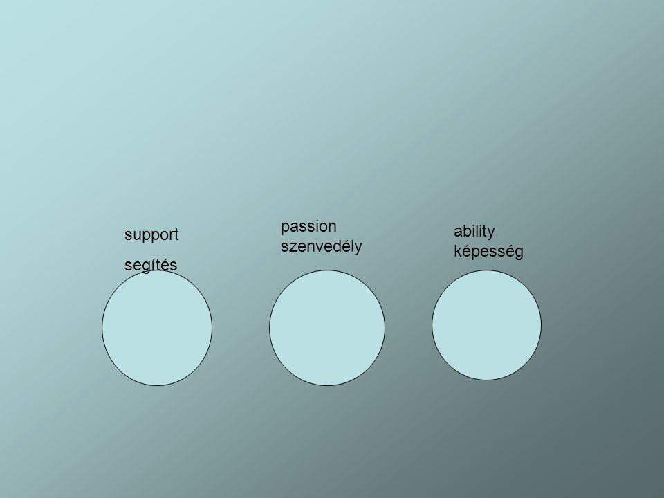 support segítés passion szenvedély ability képesség