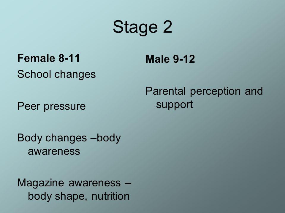 Stage 2 Female 8-11 School changes Peer pressure Body changes –body awareness Magazine awareness – body shape, nutrition Male 9-12 Parental perception