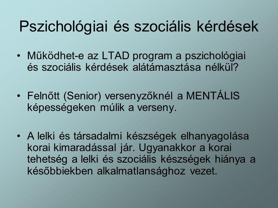 Pszichológiai és szociális kérdések Működhet-e az LTAD program a pszichológiai és szociális kérdések alátámasztása nélkül? Felnőtt (Senior) versenyzők
