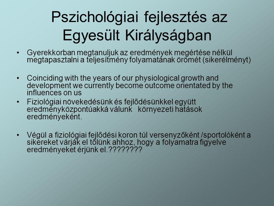 Pszichológiai fejlesztés az Egyesült Királyságban Gyerekkorban megtanuljuk az eredmények megértése nélkül megtapasztalni a teljesítmény folyamatának ö