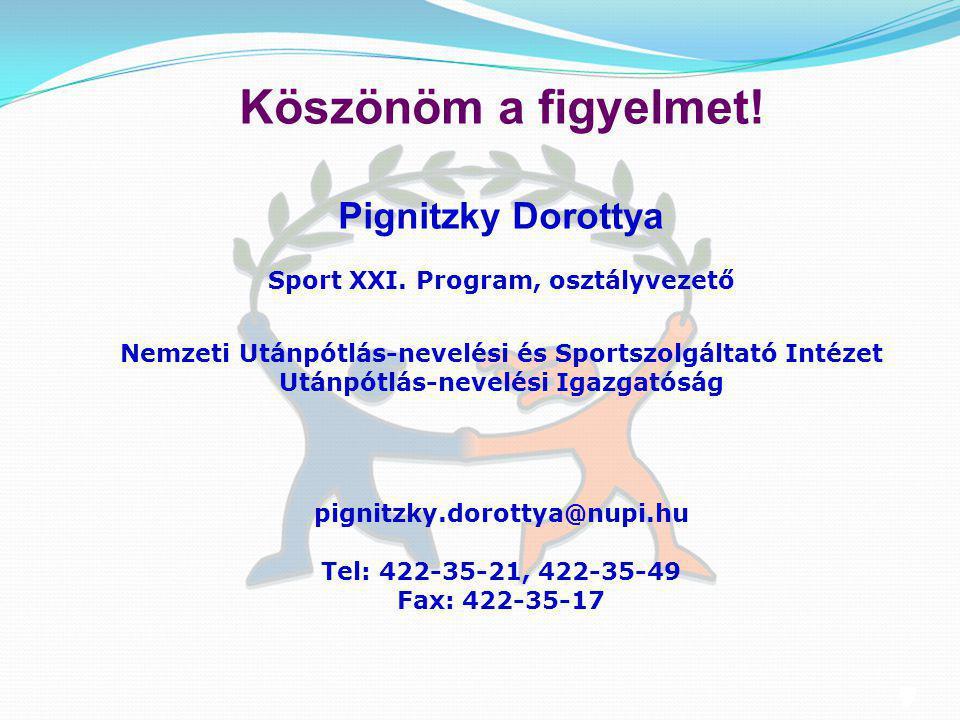 13 Köszönöm a figyelmet! Pignitzky Dorottya Sport XXI. Program, osztályvezető Nemzeti Utánpótlás-nevelési és Sportszolgáltató Intézet Utánpótlás-nevel