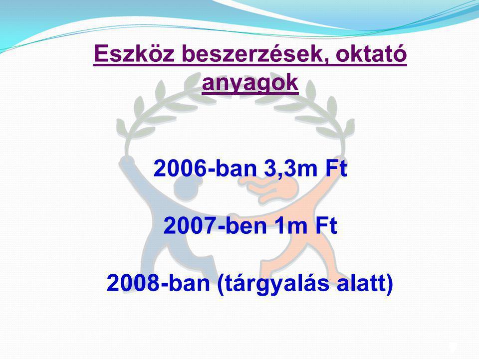 8 8 Eszköz beszerzések, oktató anyagok 2006-ban 3,3m Ft 2007-ben 1m Ft 2008-ban (tárgyalás alatt)