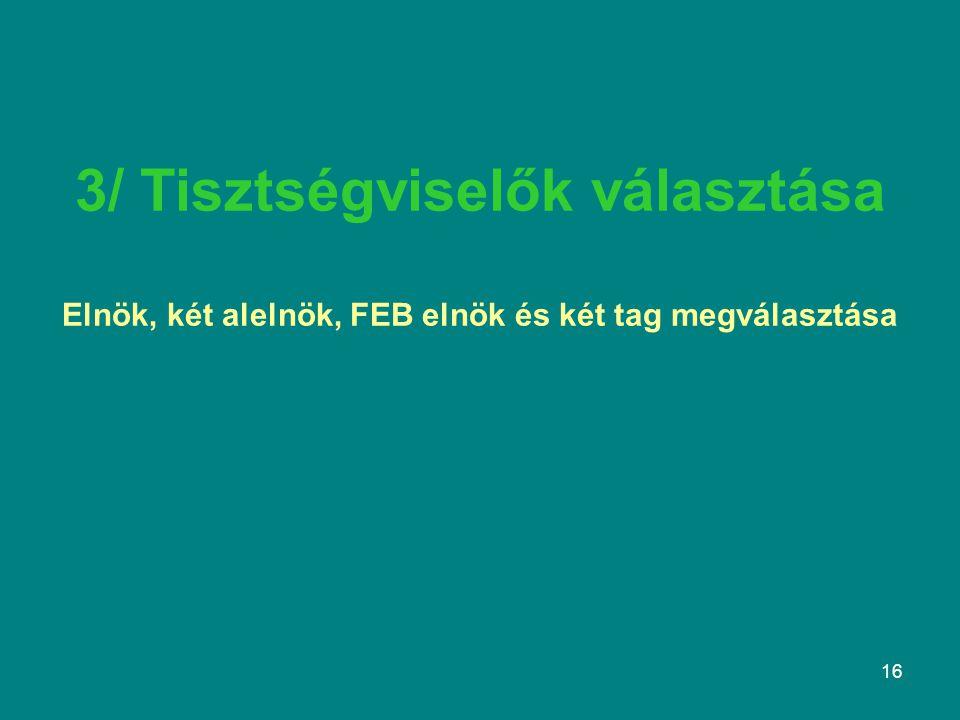 16 3/ Tisztségviselők választása Elnök, két alelnök, FEB elnök és két tag megválasztása