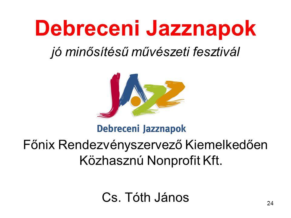 Debreceni Jazznapok jó minősítésű művészeti fesztivál Főnix Rendezvényszervező Kiemelkedően Közhasznú Nonprofit Kft.