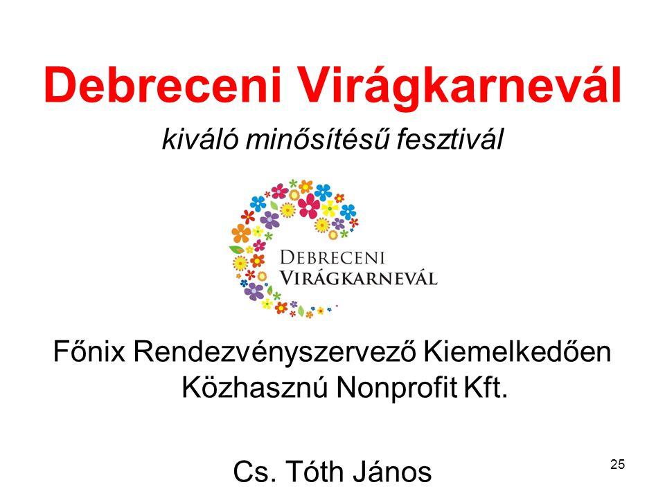 Debreceni Virágkarnevál kiváló minősítésű fesztivál Főnix Rendezvényszervező Kiemelkedően Közhasznú Nonprofit Kft.