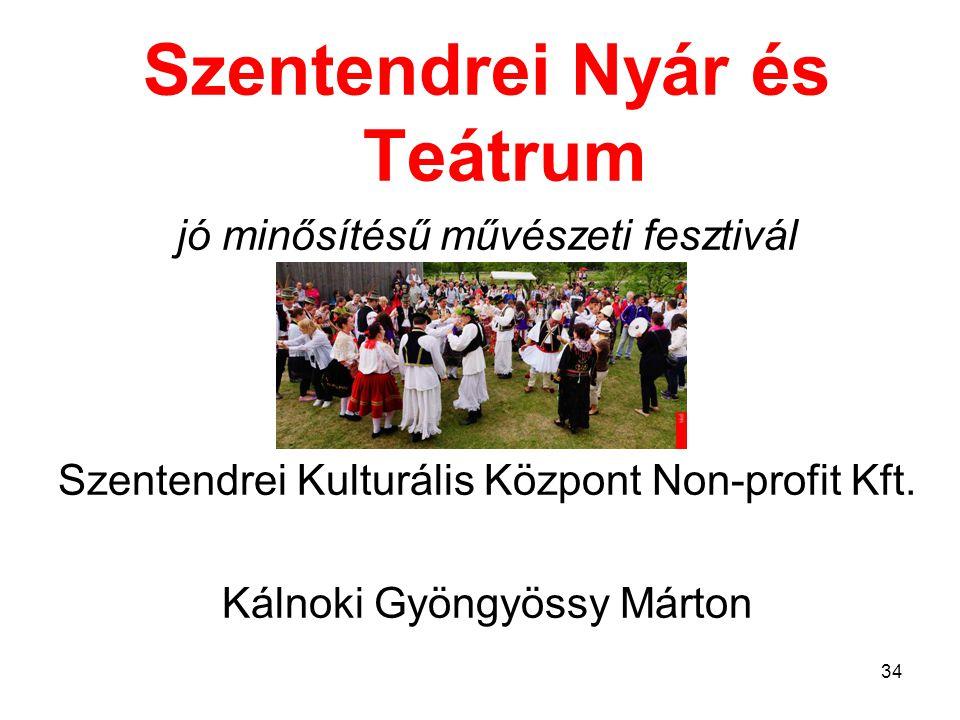 Szentendrei Nyár és Teátrum jó minősítésű művészeti fesztivál Szentendrei Kulturális Központ Non-profit Kft.