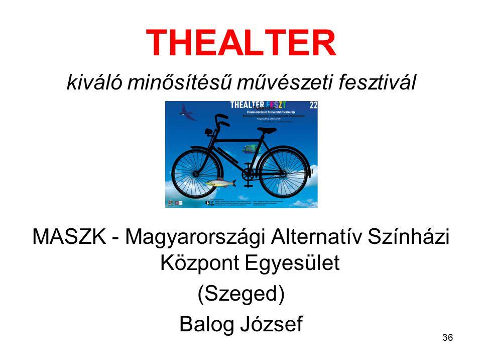 THEALTER kiváló minősítésű művészeti fesztivál MASZK - Magyarországi Alternatív Színházi Központ Egyesület (Szeged) Balog József 36