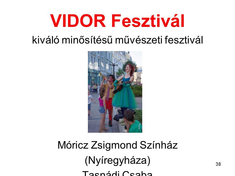 VIDOR Fesztivál kiváló minősítésű művészeti fesztivál Móricz Zsigmond Színház (Nyíregyháza) Tasnádi Csaba 38
