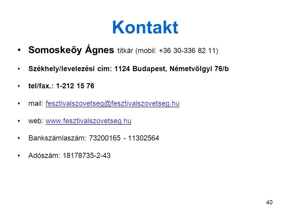 40 Kontakt Somoskeőy Ágnes titkár (mobil: +36 30-336 82 11) Székhely/levelezési cím: 1124 Budapest, Németvölgyi 76/b tel/fax.: 1-212 15 76 mail: fesztivalszovetseg@fesztivalszovetseg.hufesztivalszovetseg@fesztivalszovetseg.hu web: www.fesztivalszovetseg.huwww.fesztivalszovetseg.hu Bankszámlaszám: 73200165 - 11302564 Adószám: 18178735-2-43