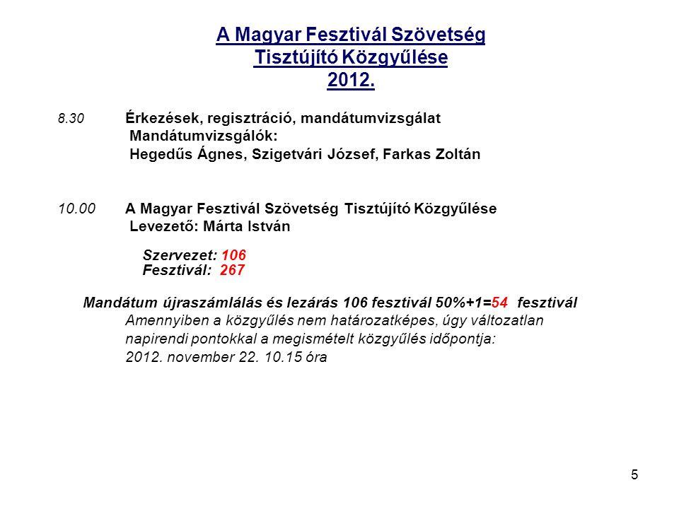 5 A Magyar Fesztivál Szövetség Tisztújító Közgyűlése 2012.