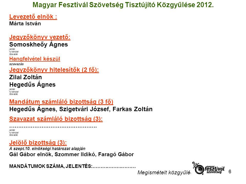 6 Magyar Fesztivál Szövetség Tisztújító Közgyűlése 2012.