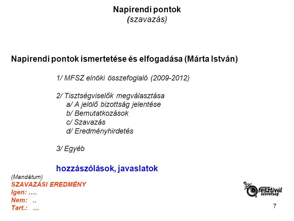 7 Napirendi pontok (szavazás) Napirendi pontok ismertetése és elfogadása (Márta István) 1/ MFSZ elnöki összefoglaló (2009-2012) 2/ Tisztségviselők megválasztása a/ A jelölő bizottság jelentése b/ Bemutatkozások c/ Szavazás d/ Eredményhirdetés 3/ Egyéb hozzászólások, javaslatok (Mandátum) SZAVAZÁSI EREDMÉNY Igen: ….