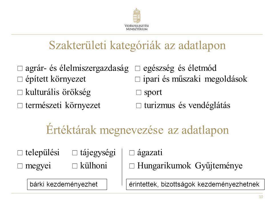 10 Szakterületi kategóriák az adatlapon  agrár- és élelmiszergazdaság  egészség és életmód  épített környezet  ipari és műszaki megoldások  kulturális örökség  sport  természeti környezet  turizmus és vendéglátás Értéktárak megnevezése az adatlapon  települési  tájegységi  ágazati  megyei  külhoni  Hungarikumok Gyűjteménye bárki kezdeményezhetérintettek, bizottságok kezdeményezhetnek