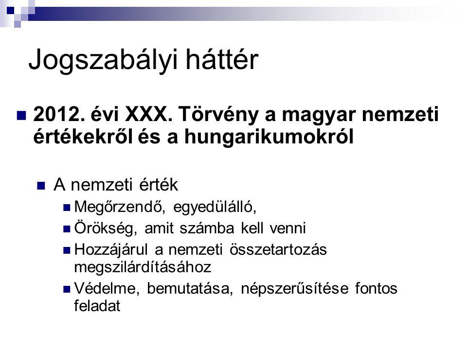 Jogszabályi háttér 2012.évi XXX.