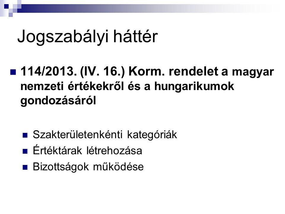 Jogszabályi háttér 114/2013.(IV. 16.) Korm.