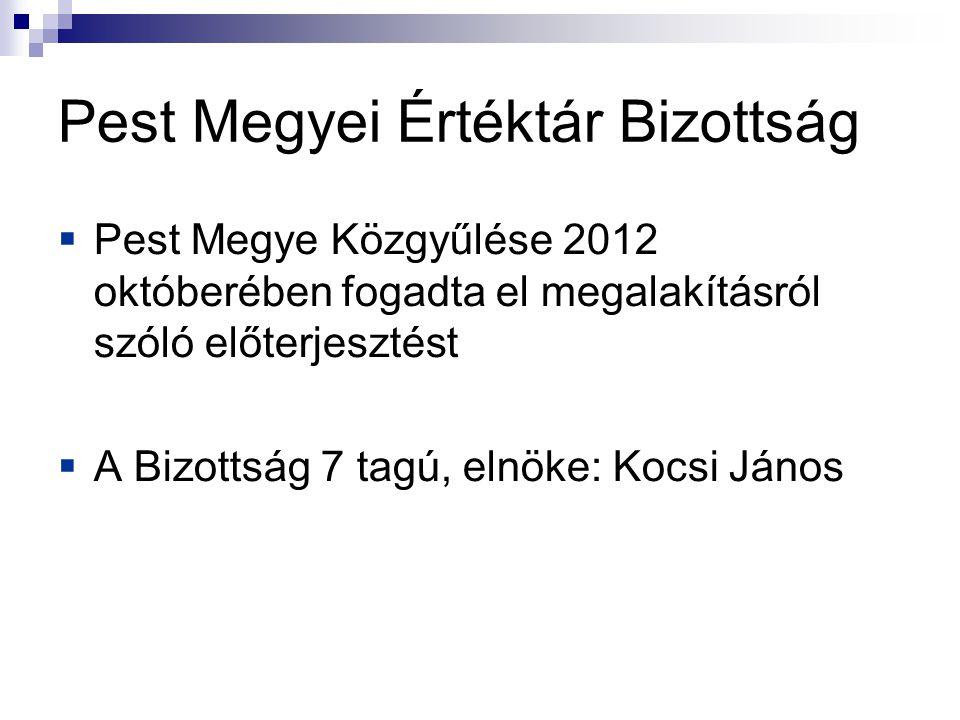 Pest Megyei Értéktár Bizottság  Pest Megye Közgyűlése 2012 októberében fogadta el megalakításról szóló előterjesztést  A Bizottság 7 tagú, elnöke: Kocsi János