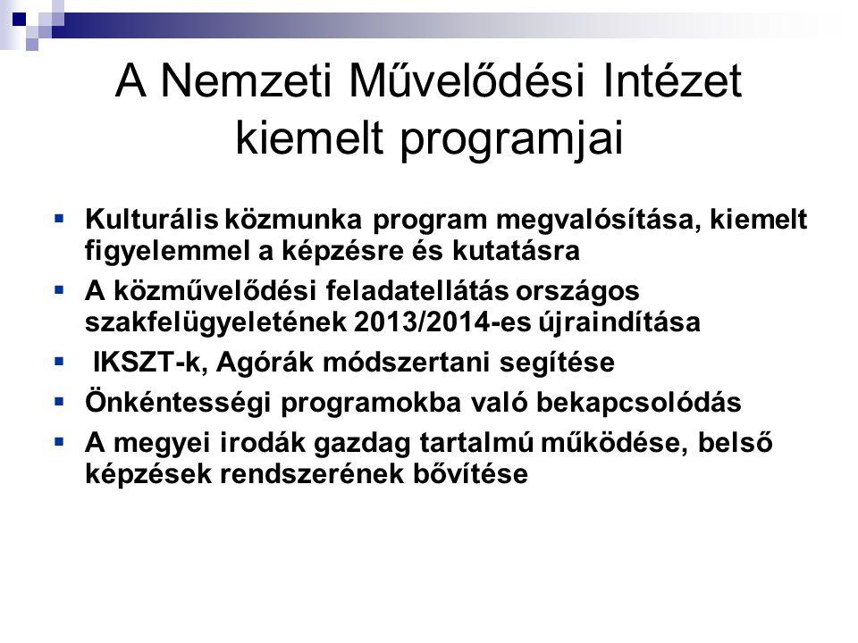 A Nemzeti Művelődési Intézet kiemelt programjai  Kulturális közmunka program megvalósítása, kiemelt figyelemmel a képzésre és kutatásra  A közművelődési feladatellátás országos szakfelügyeletének 2013/2014-es újraindítása  IKSZT-k, Agórák módszertani segítése  Önkéntességi programokba való bekapcsolódás  A megyei irodák gazdag tartalmú működése, belső képzések rendszerének bővítése