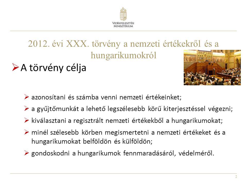 3  nemzeti érték – a magyar alkotótevékenységhez, termelési kultúrához, tudáshoz, hagyományokhoz, tájhoz és élővilághoz kapcsolódó, szellemi és anyagi, természeti, közösségi érték, vagy termék;  kiemelkedő nemzeti érték - nemzeti szempontból meghatározó jelentőségű, a magyarságra jellemző és közismert, jelentősen öregbíti hírnevünket, növelheti megbecsülésünket az Európai Unióban és szerte a világon, továbbá hozzájárul új nemzedékek nemzeti hovatartozásának, magyarságtudatának kialakításához, megerősítéséhez.