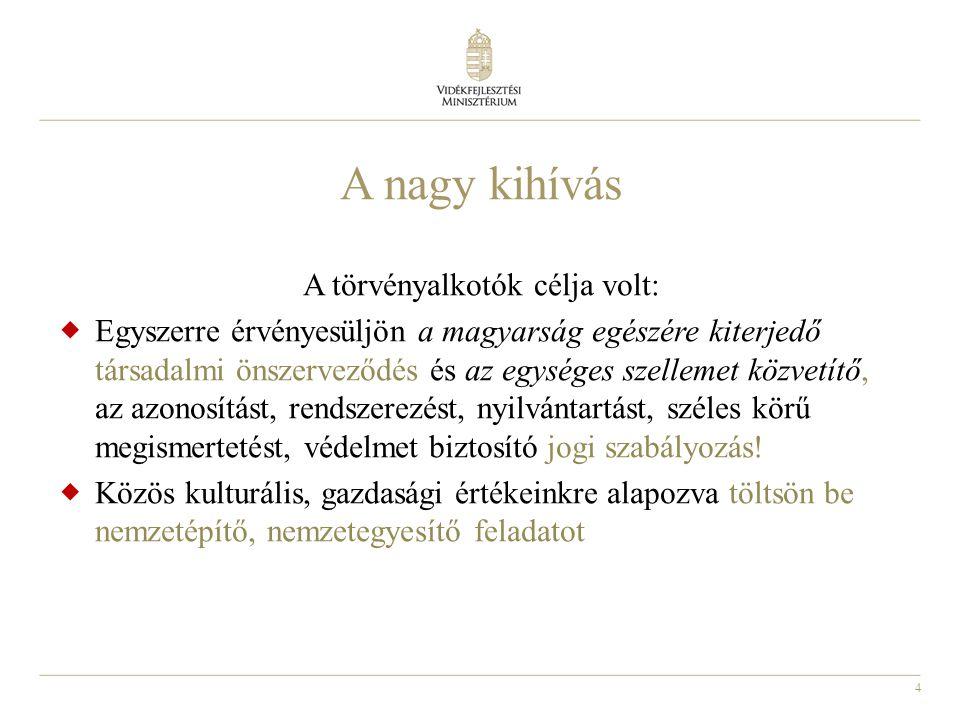 4 A nagy kihívás A törvényalkotók célja volt:  Egyszerre érvényesüljön a magyarság egészére kiterjedő társadalmi önszerveződés és az egységes szellem