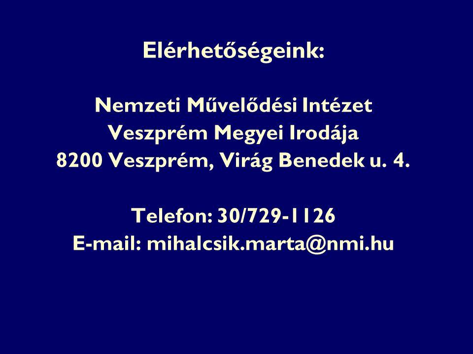 Elérhetőségeink: Nemzeti Művelődési Intézet Veszprém Megyei Irodája 8200 Veszprém, Virág Benedek u. 4. Telefon: 30/729-1126 E-mail: mihalcsik.marta@nm