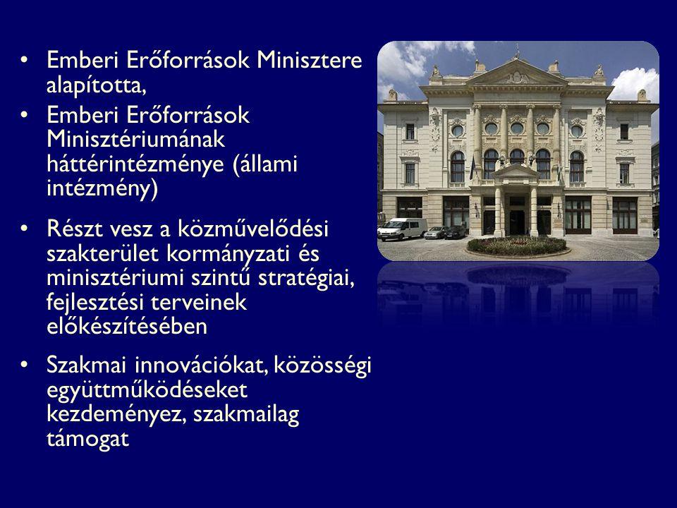 Emberi Erőforrások Minisztere alapította, Emberi Erőforrások Minisztériumának háttérintézménye (állami intézmény) Részt vesz a közművelődési szakterül