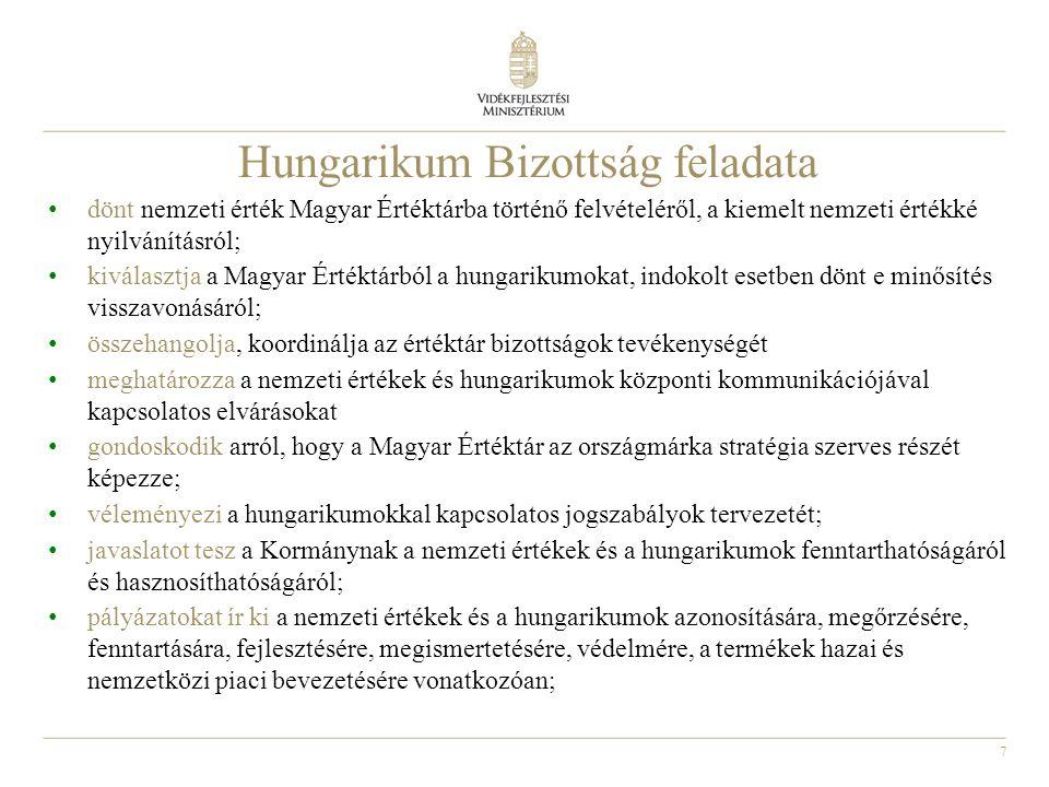 7 Hungarikum Bizottság feladata dönt nemzeti érték Magyar Értéktárba történő felvételéről, a kiemelt nemzeti értékké nyilvánításról; kiválasztja a Mag