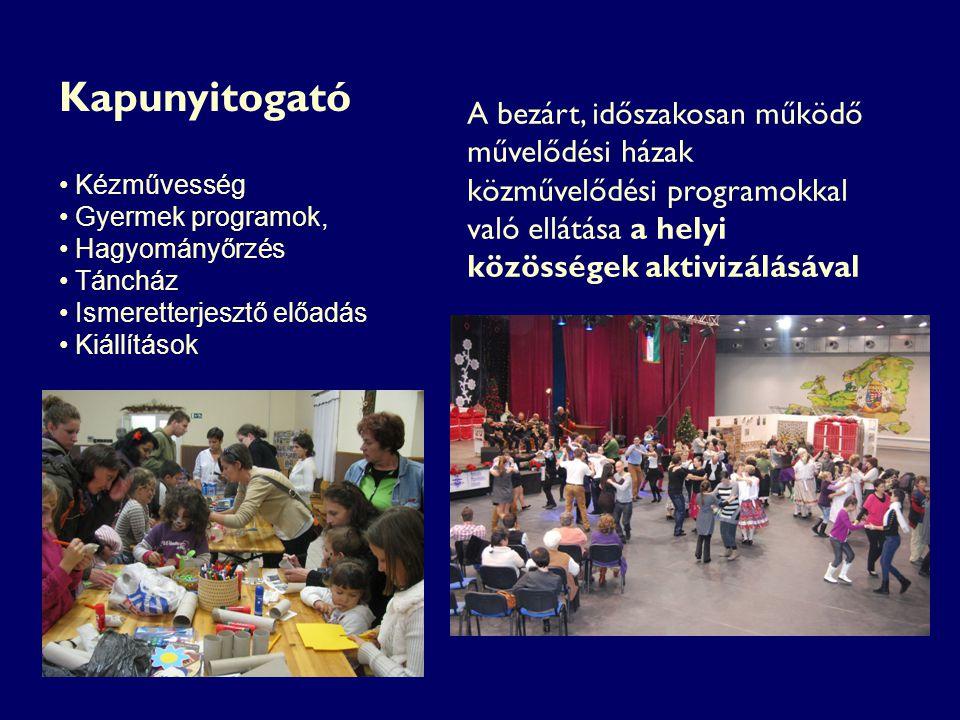 Kézművesség Gyermek programok, Hagyományőrzés Táncház Ismeretterjesztő előadás Kiállítások A bezárt, időszakosan működő művelődési házak közművelődési