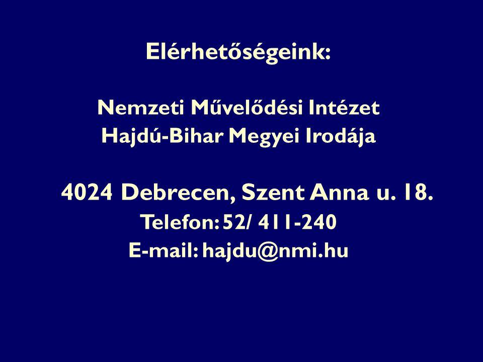 Elérhetőségeink: Nemzeti Művelődési Intézet Hajdú-Bihar Megyei Irodája 4024 Debrecen, Szent Anna u. 18. Telefon: 52/ 411-240 E-mail: hajdu@nmi.hu