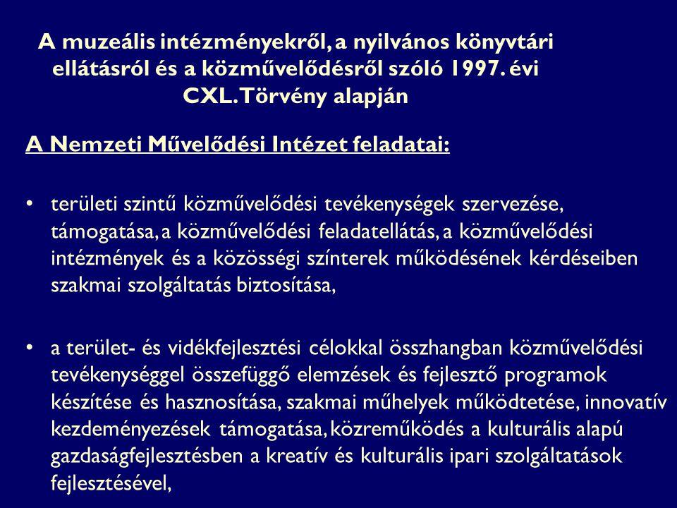 A muzeális intézményekről, a nyilvános könyvtári ellátásról és a közművelődésről szóló 1997. évi CXL. Törvény alapján A Nemzeti Művelődési Intézet fel