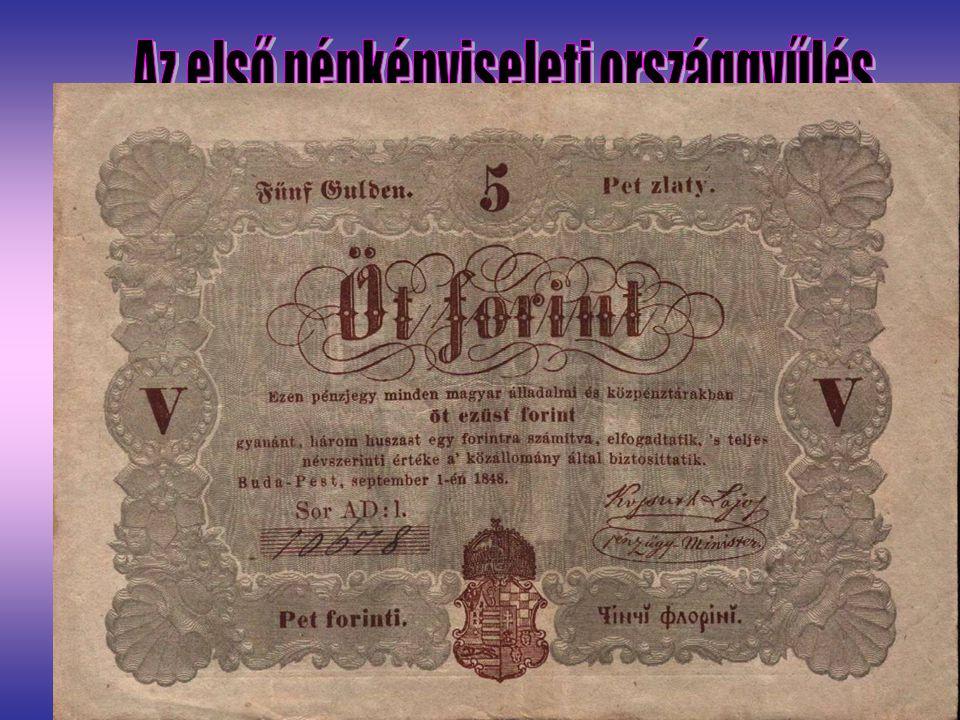 Július 4-én ült össze az els ő népképviseleti országgy ű lés,amelyben biztos többsége volt a Batthyány-kormánynak. Legfontosabb feladata: - 1848 ápril