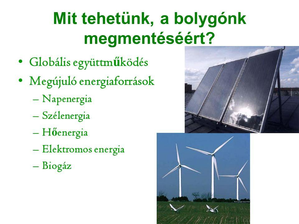 Mit tehetünk, a bolygónk megmentéséért? Globális együttm ű ködés Megújuló energiaforrások –Napenergia –Szélenergia –H ő energia –Elektromos energia –B