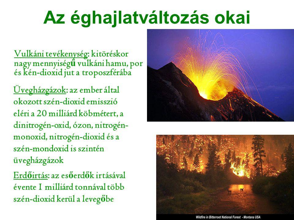 Az éghajlatváltozás okai Vulkáni tevékenység: kitöréskor nagy mennyiség ű vulkáni hamu, por és kén-dioxid jut a troposzférába Üvegházgázok: az ember á