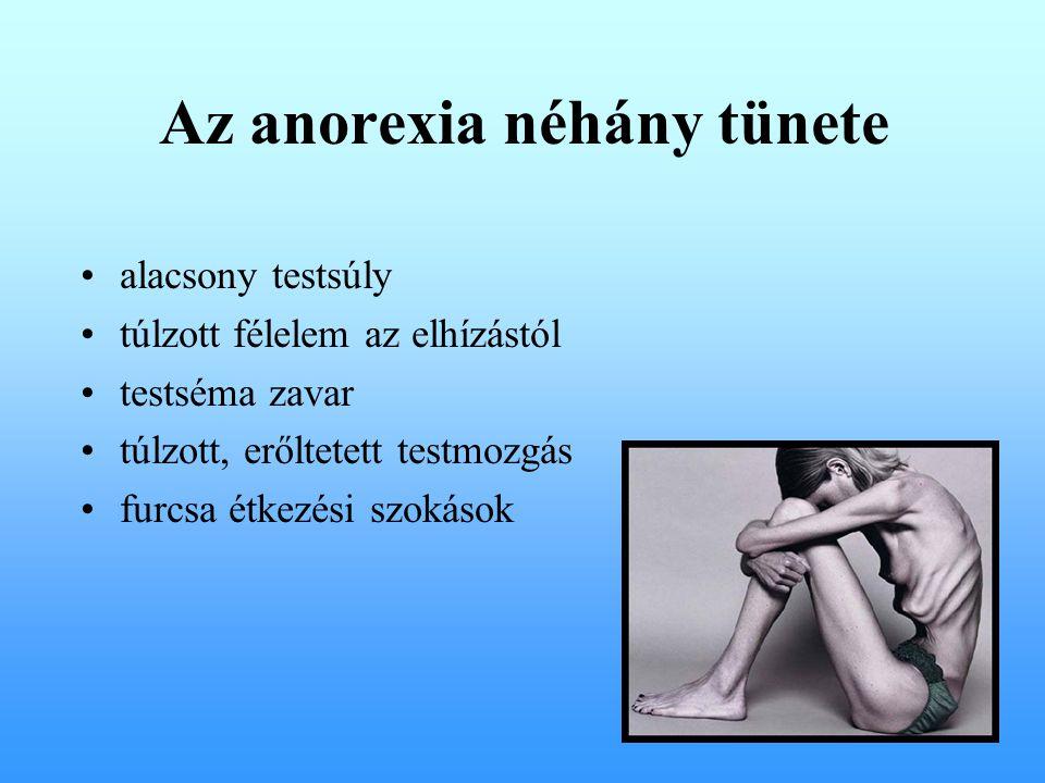 Az anorexia néhány tünete alacsony testsúly túlzott félelem az elhízástól testséma zavar túlzott, erőltetett testmozgás furcsa étkezési szokások