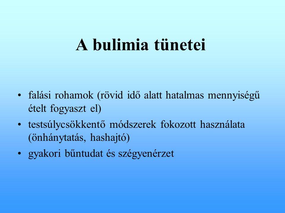 A bulimia tünetei falási rohamok (rövid idő alatt hatalmas mennyiségű ételt fogyaszt el) testsúlycsökkentő módszerek fokozott használata (önhánytatás, hashajtó) gyakori bűntudat és szégyenérzet