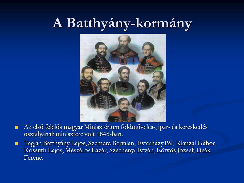 A Batthyány-kormány Az első felelős magyar Minisztérium földművelés-, ipar- és kereskedés osztályának minisztere volt 1848-ban. Tagjai: Batthyány Lajo