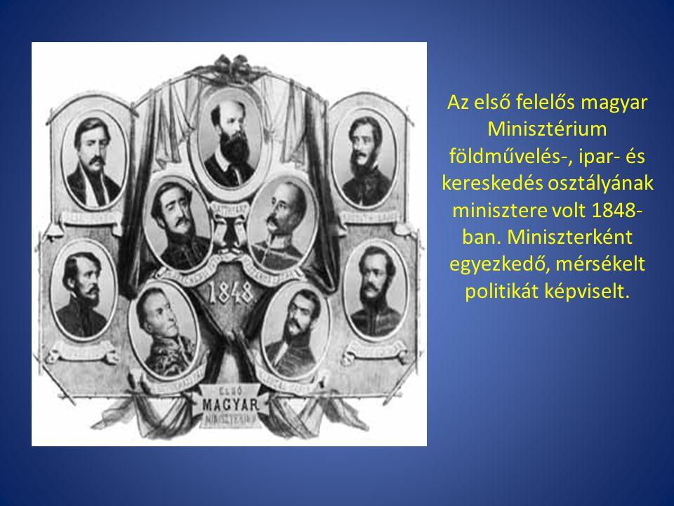 Az első felelős magyar Minisztérium földművelés-, ipar- és kereskedés osztályának minisztere volt 1848- ban. Miniszterként egyezkedő, mérsékelt politi