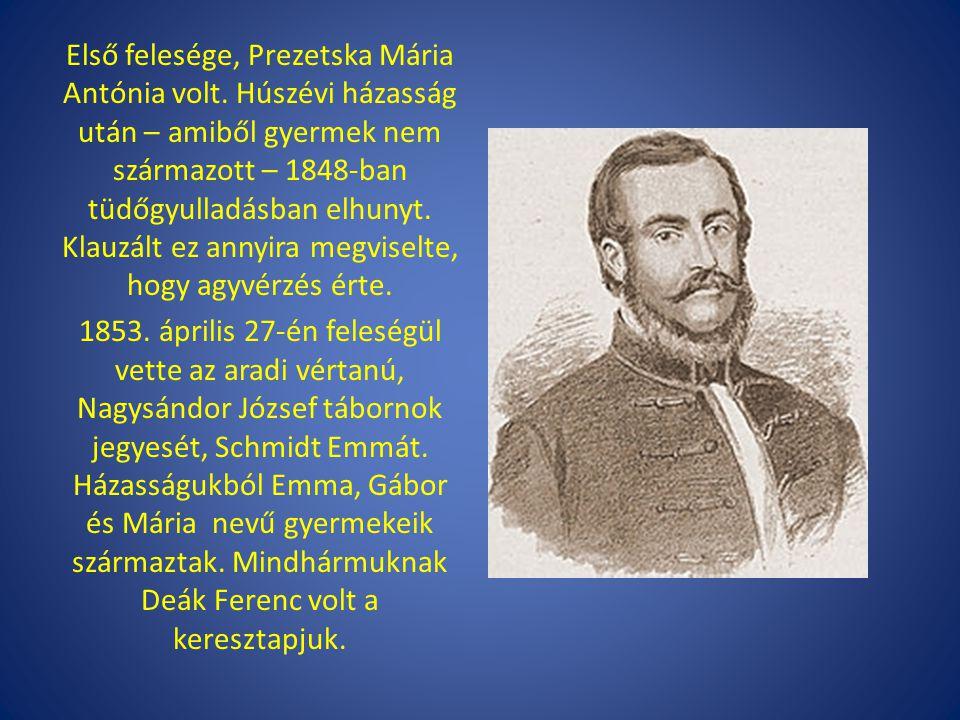 Első felesége, Prezetska Mária Antónia volt. Húszévi házasság után – amiből gyermek nem származott – 1848-ban tüdőgyulladásban elhunyt. Klauzált ez an