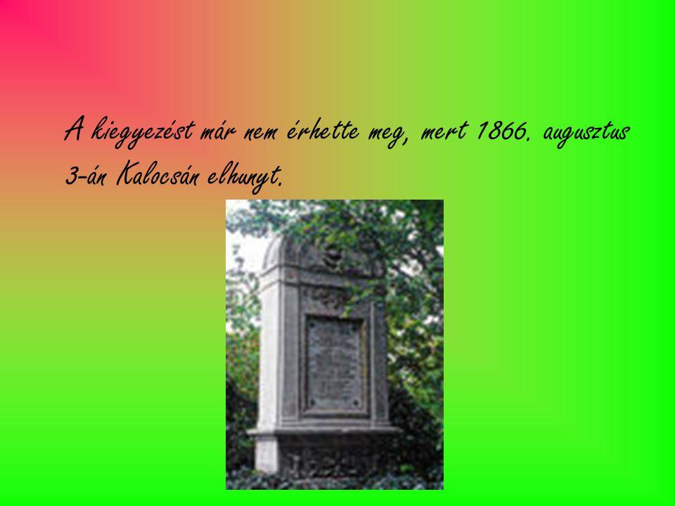A kiegyezést már nem érhette meg, mert 1866. augusztus 3-án Kalocsán elhunyt.