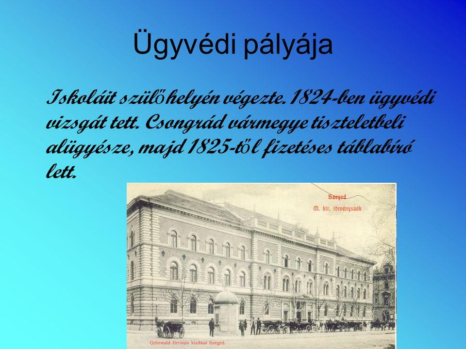 Ügyvédi pályája Iskoláit szül ő helyén végezte. 1824-ben ügyvédi vizsgát tett. Csongrád vármegye tiszteletbeli alügyésze, majd 1825-t ő l fizetéses tá
