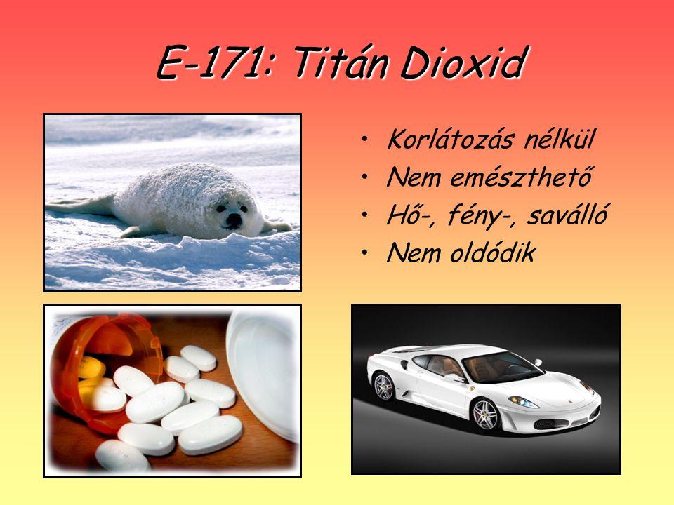 E-171: Titán Dioxid Korlátozás nélkül Nem emészthető Hő-, fény-, saválló Nem oldódik