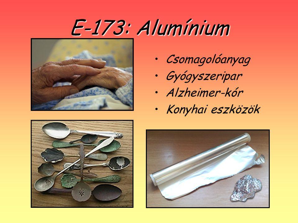 E-173: Alumínium Csomagolóanyag Gyógyszeripar Alzheimer-kór Konyhai eszközök