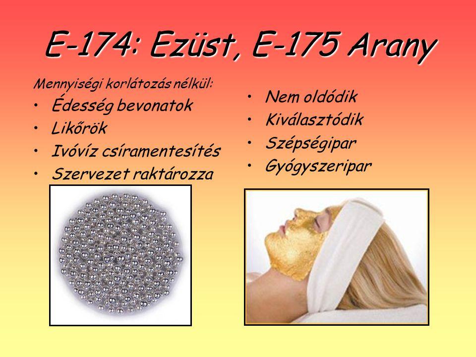 E-174: Ezüst, E-175 Arany Nem oldódik Kiválasztódik Szépségipar Gyógyszeripar Mennyiségi korlátozás nélkül: Édesség bevonatok Likőrök Ivóvíz csírament