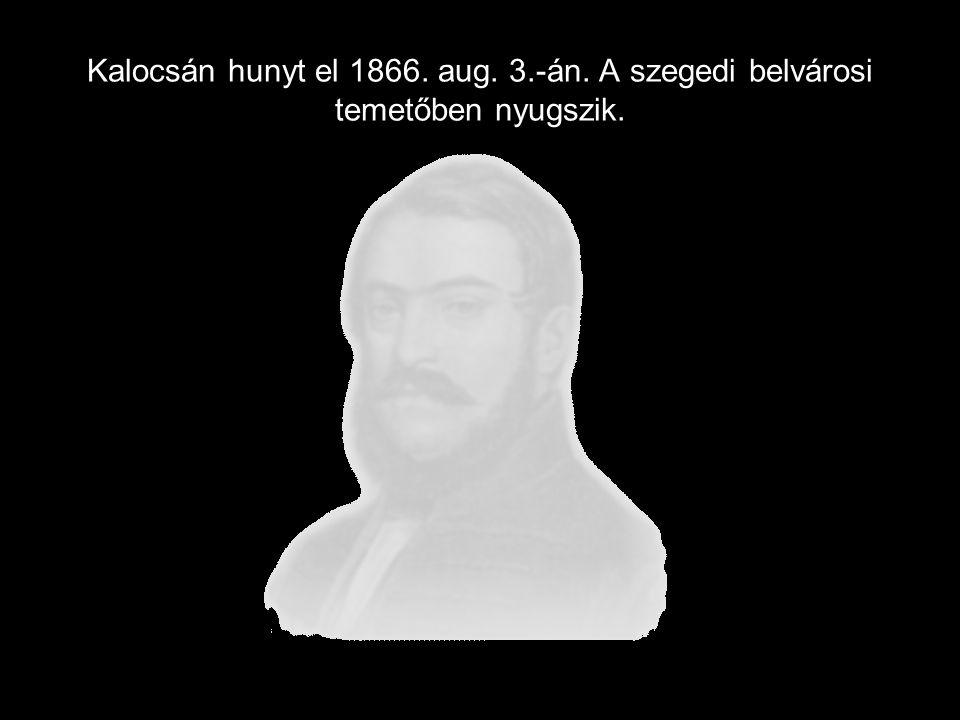 Kalocsán hunyt el 1866. aug. 3.-án. A szegedi belvárosi temetőben nyugszik.